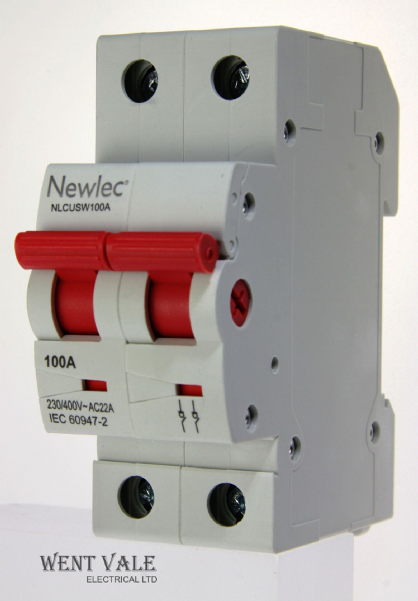 Newlec NLCUSW100A - 100a AC22A Double Pole Switch Disconnector Latest Model NEW